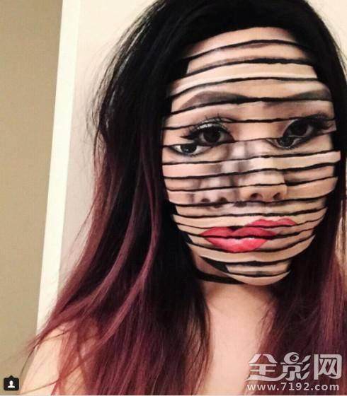 简直不可描述 这位姑娘的化妆术肯定能避孕
