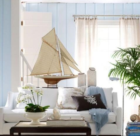 绿植盆栽是这个地中海风格客厅的亮点以及特色