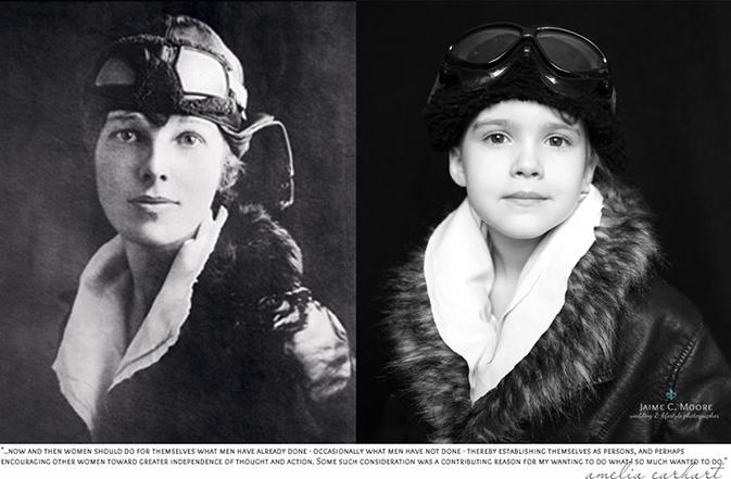 让女儿模仿史上女性伟人来拍照