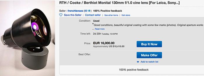 Berthiot Monital130mmf/1.0天价现身eBay