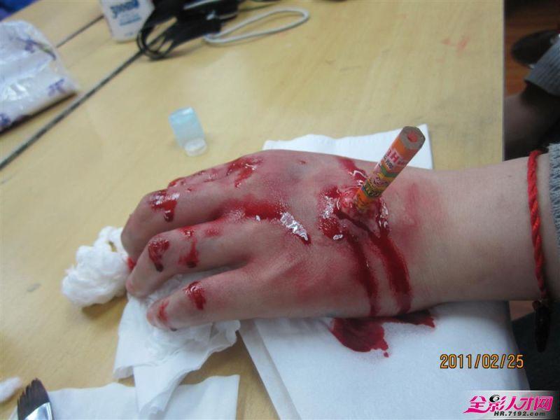缝针假伤口怎么画图解