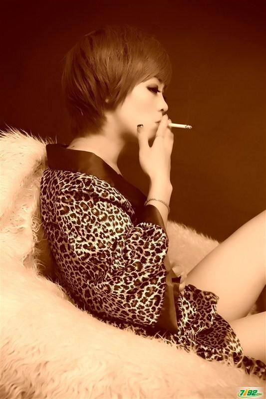 写真摄影烟—女人