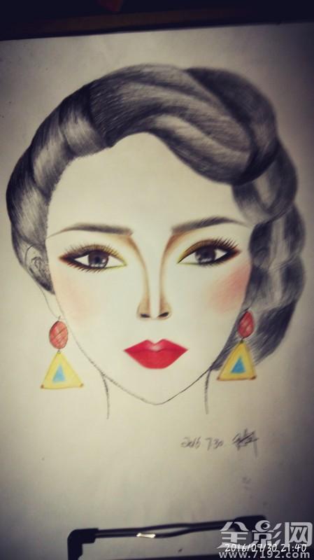 化妆美人图素材