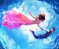 浪漫的水中婚纱照